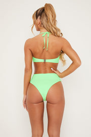 Maleah High Waisted Cut Out Bikini Bottom - Green - MESHKI ?id=15571003998283