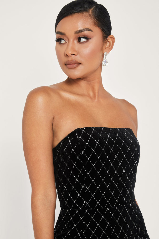 Lindsie Strapless Velvet Mini Dress - Black - MESHKI