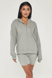 Maia Long Sleeve Zip Up Hoodie Jacket - Sage - MESHKI ?id=13463956815947