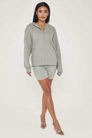 Maia Long Sleeve Zip Up Hoodie Jacket - Sage - MESHKI ?id=13463956848715