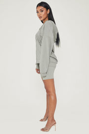 Maia Long Sleeve Zip Up Hoodie Jacket - Sage - MESHKI ?id=13463956881483