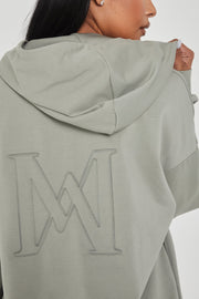 Maia Long Sleeve Zip Up Hoodie Jacket - Sage - MESHKI ?id=13463956914251