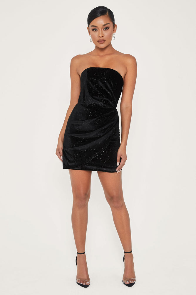 Geme Velvet Strapless Wrap Mini Dress - Black - MESHKI