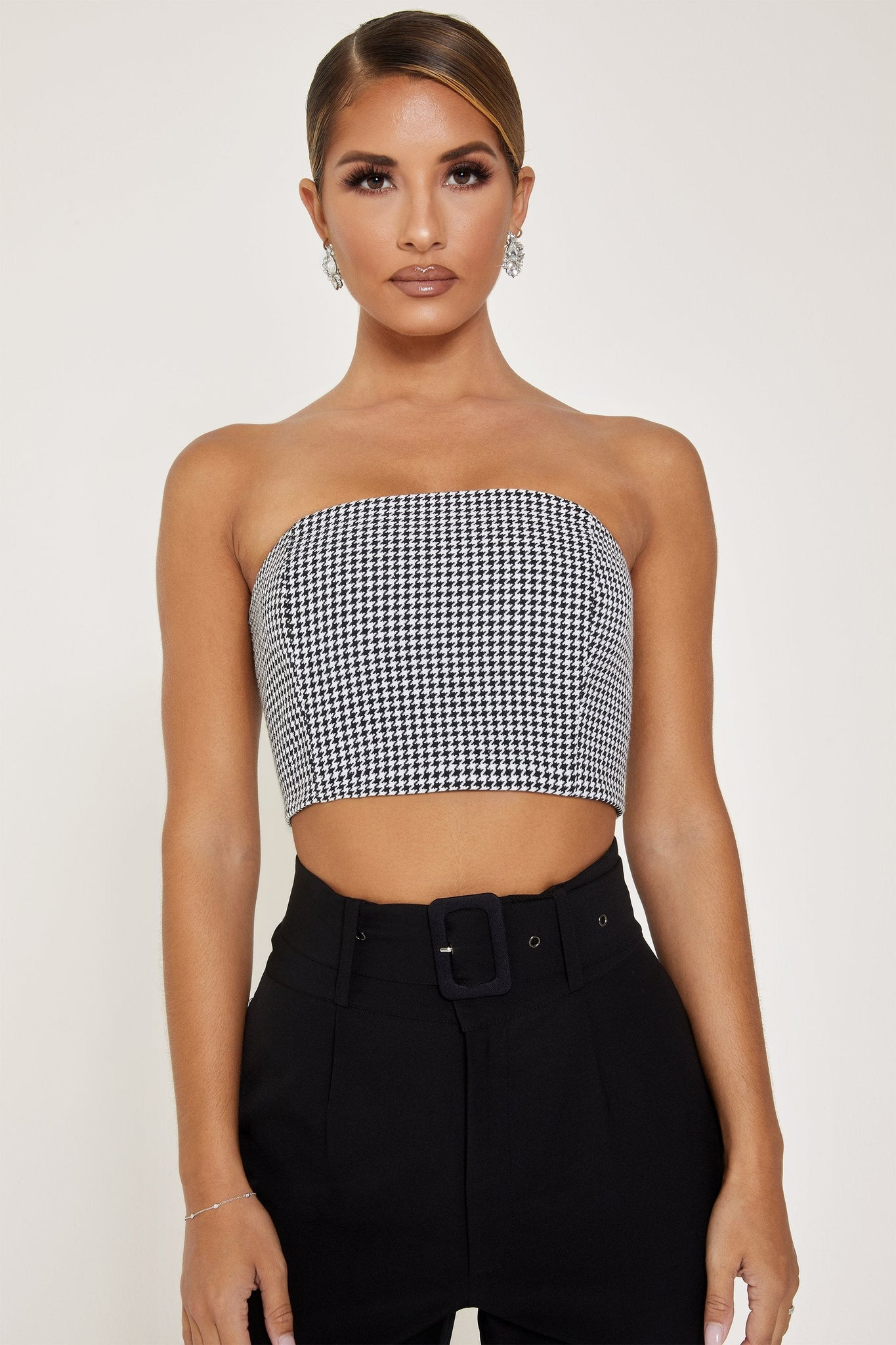 Kessa Boned Strapless Top - Houndstooth - MESHKI