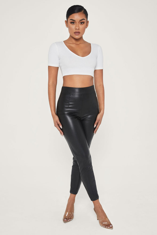 Alyona Ribbed Crop Top - White - MESHKI