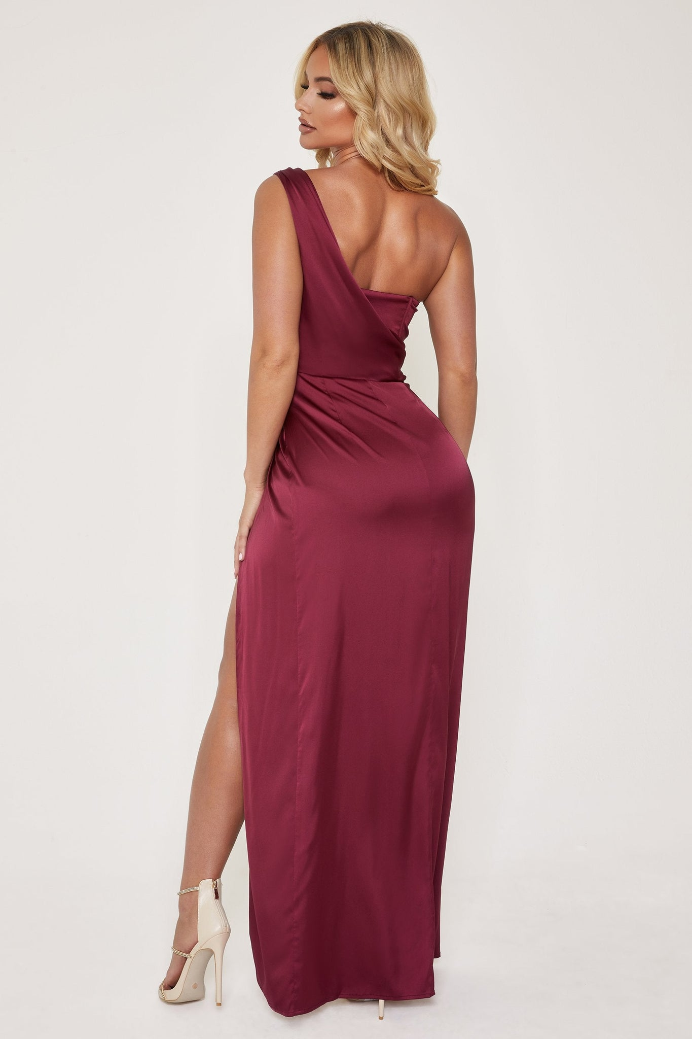 Aella Corsetted Asymmetric Drape Maxi Dress - Burgundy - MESHKI
