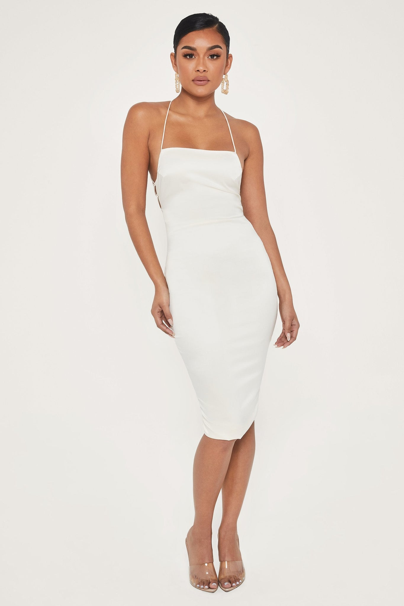 Bebe Thin Strap Lace Up Midi Dress - Ivory - MESHKI