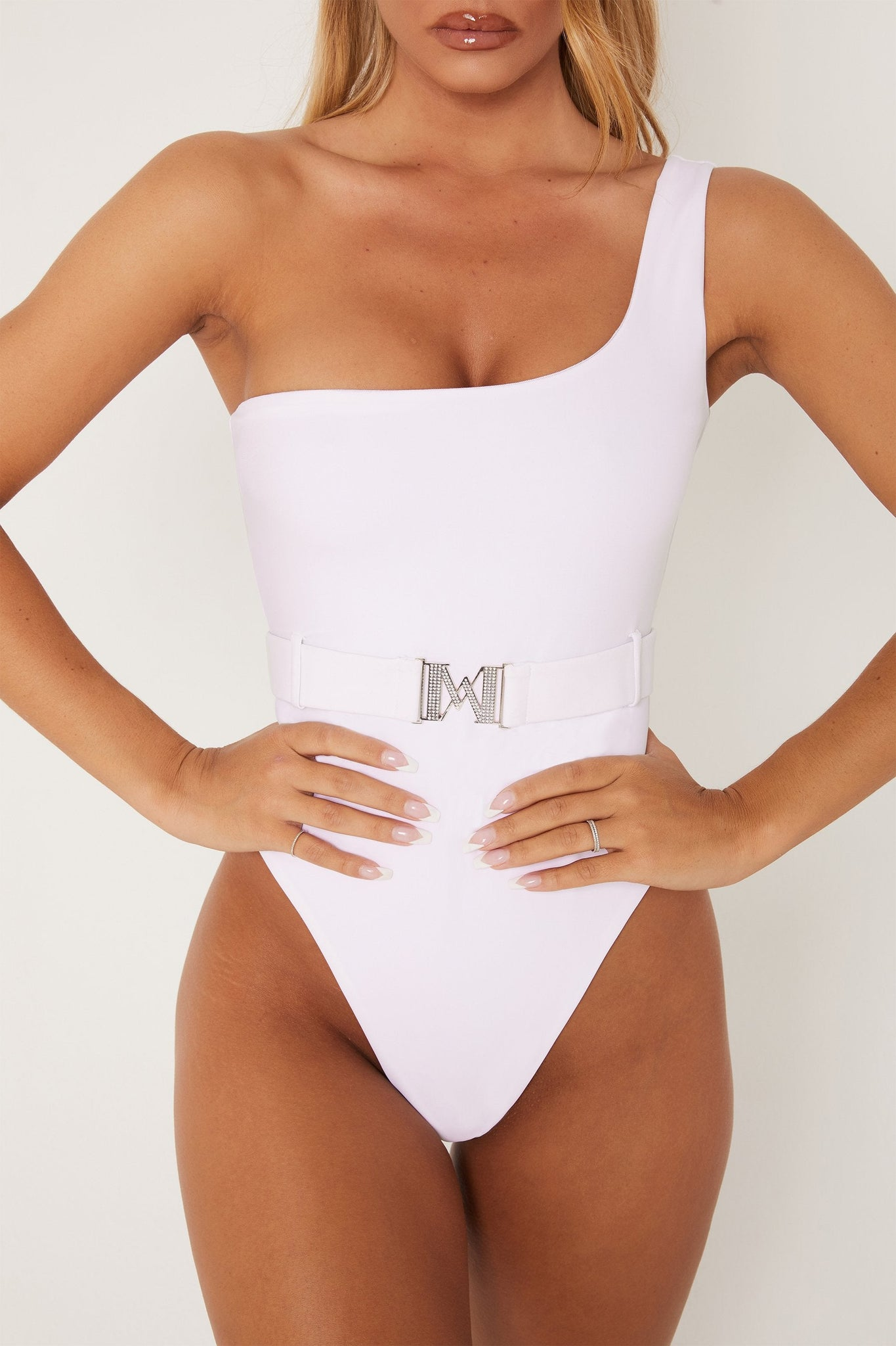 Stormie One shoulder Diamante Buckle One Piece - White - MESHKI