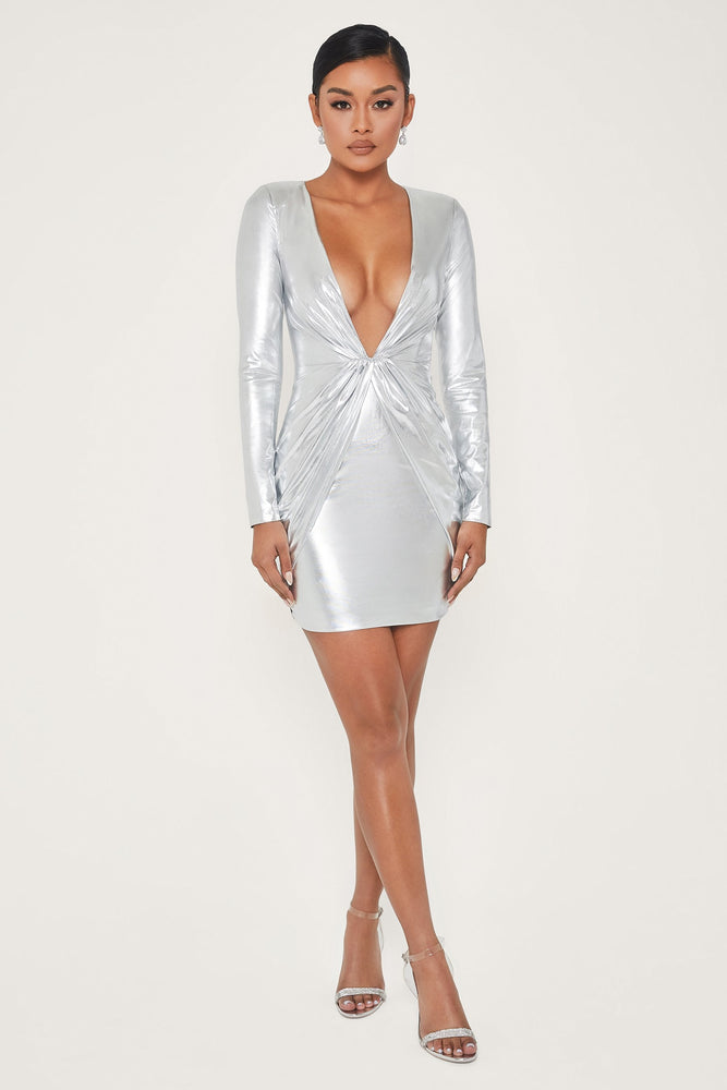 Hazel Low Cut Long Sleeve Mini Dress - Silver - MESHKI