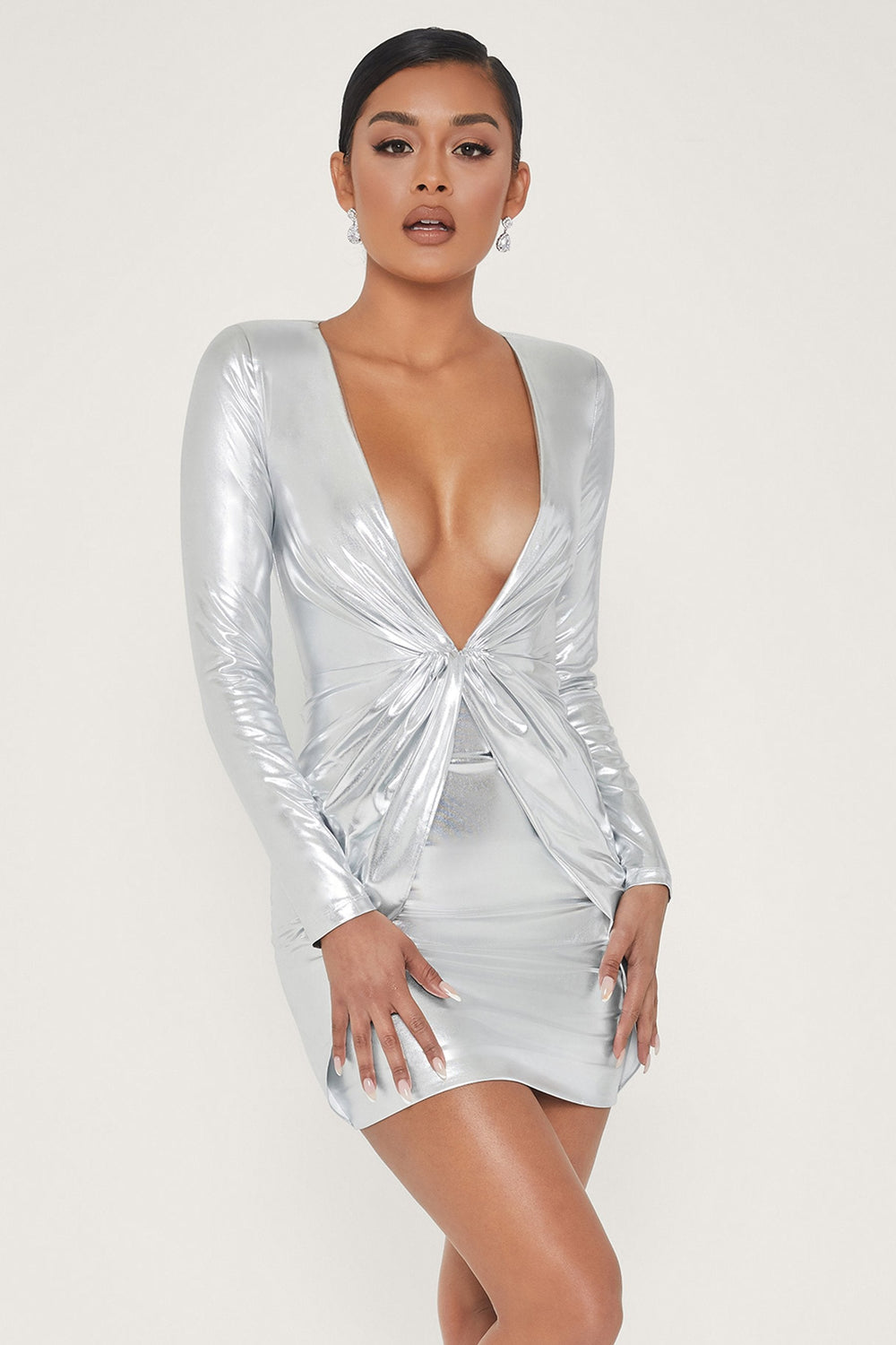 Hazel Low Cut Long Sleeve Mini Dress - Silver - MESHKI ?id=13658257227851
