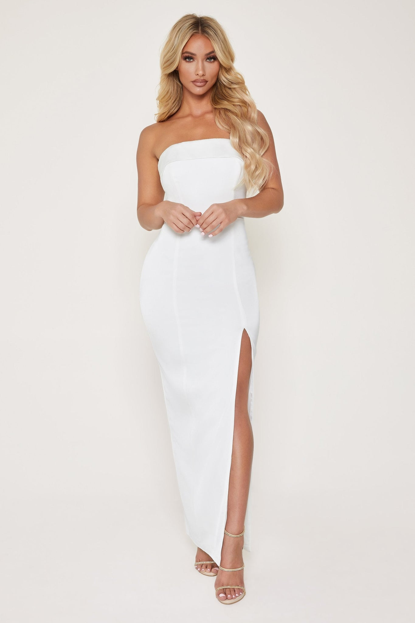 Celine Strapless Maxi Dress - White - MESHKI