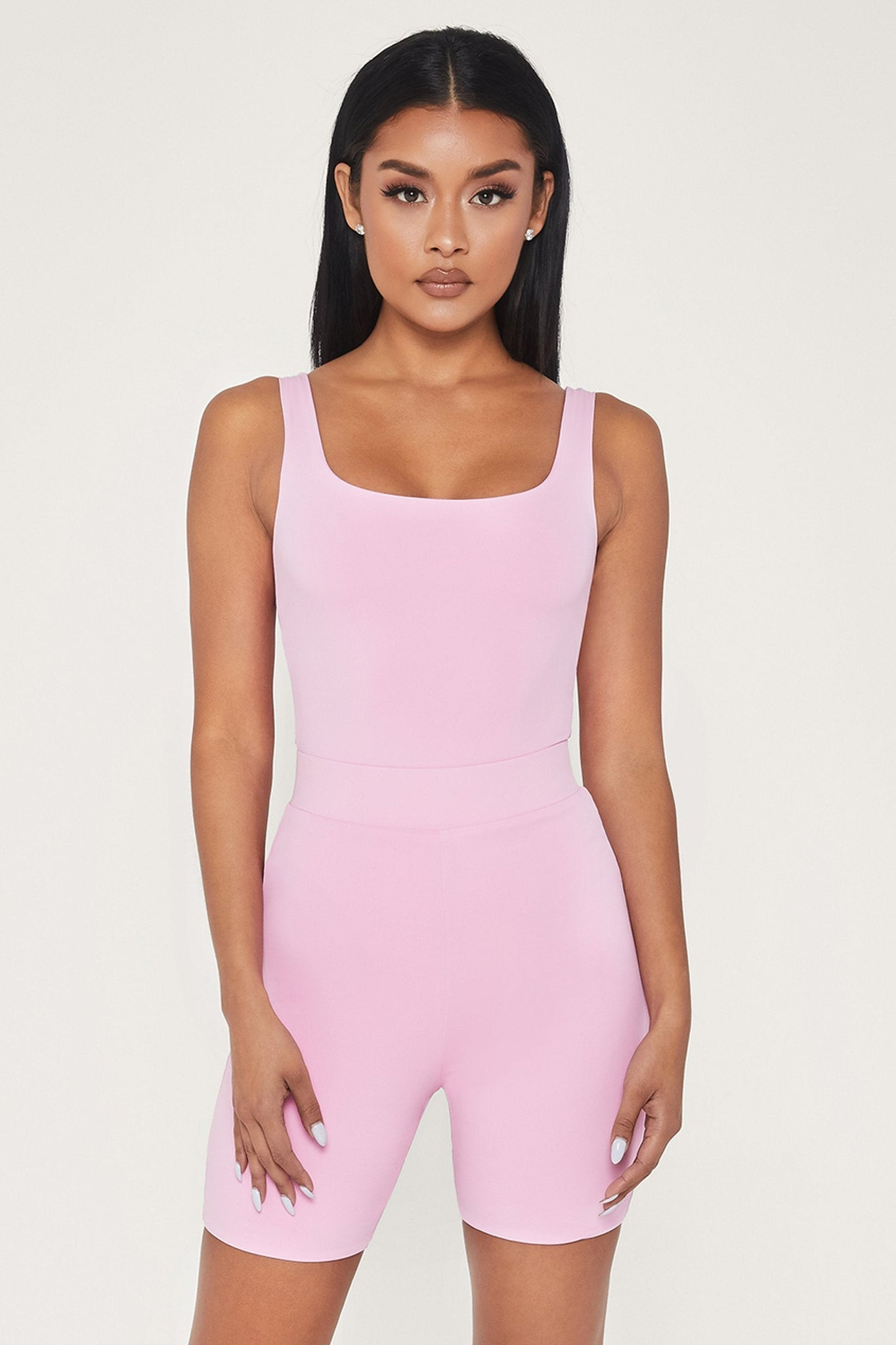 Jaelyn Thick Strap Square Neck Bodysuit - Pink - MESHKI