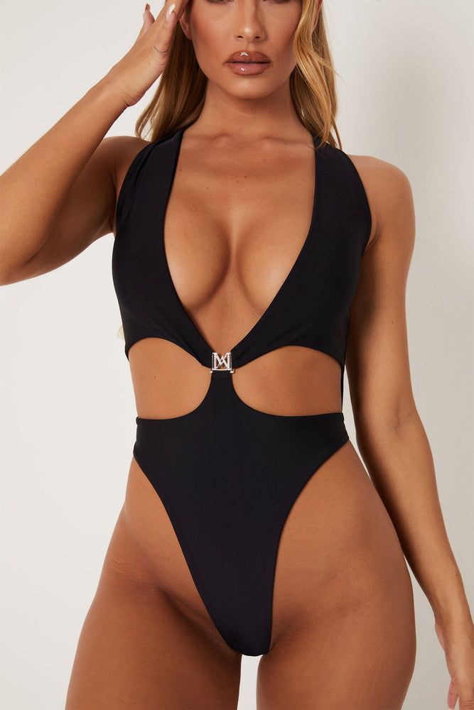 Rikki Low Cut One Piece - Black - MESHKI