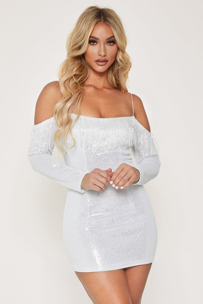 Lauren Beaded Mini Dress - White - MESHKI ?id=13565242409035