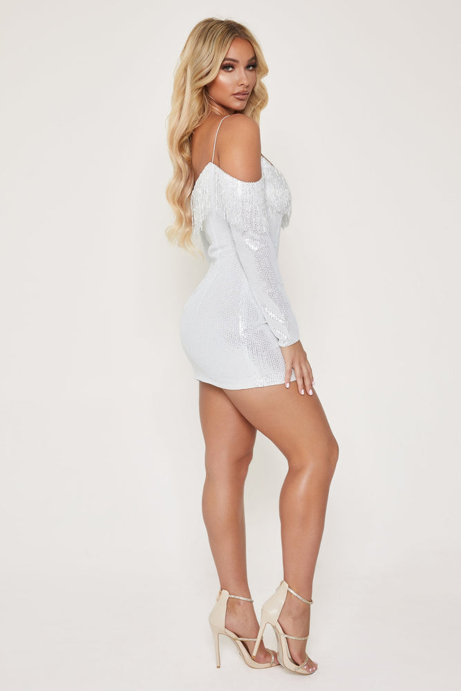Lauren Beaded Mini Dress - White - MESHKI