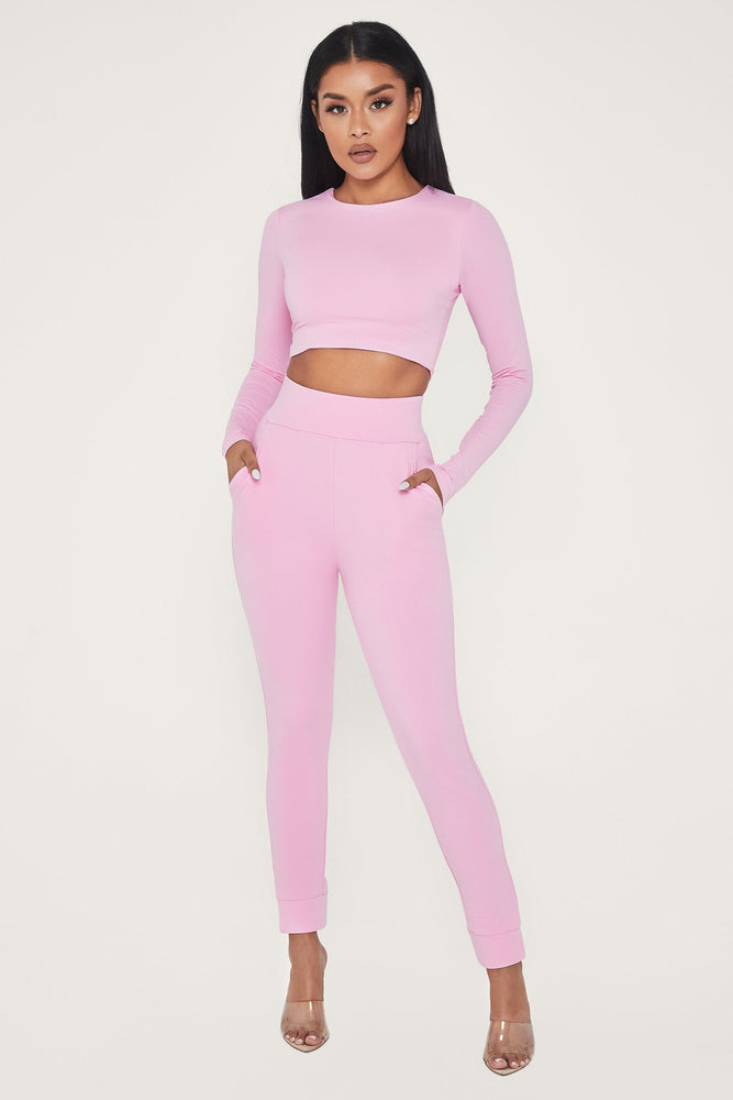 Amelia Fitted High Waisted Joggers - Pink - MESHKI