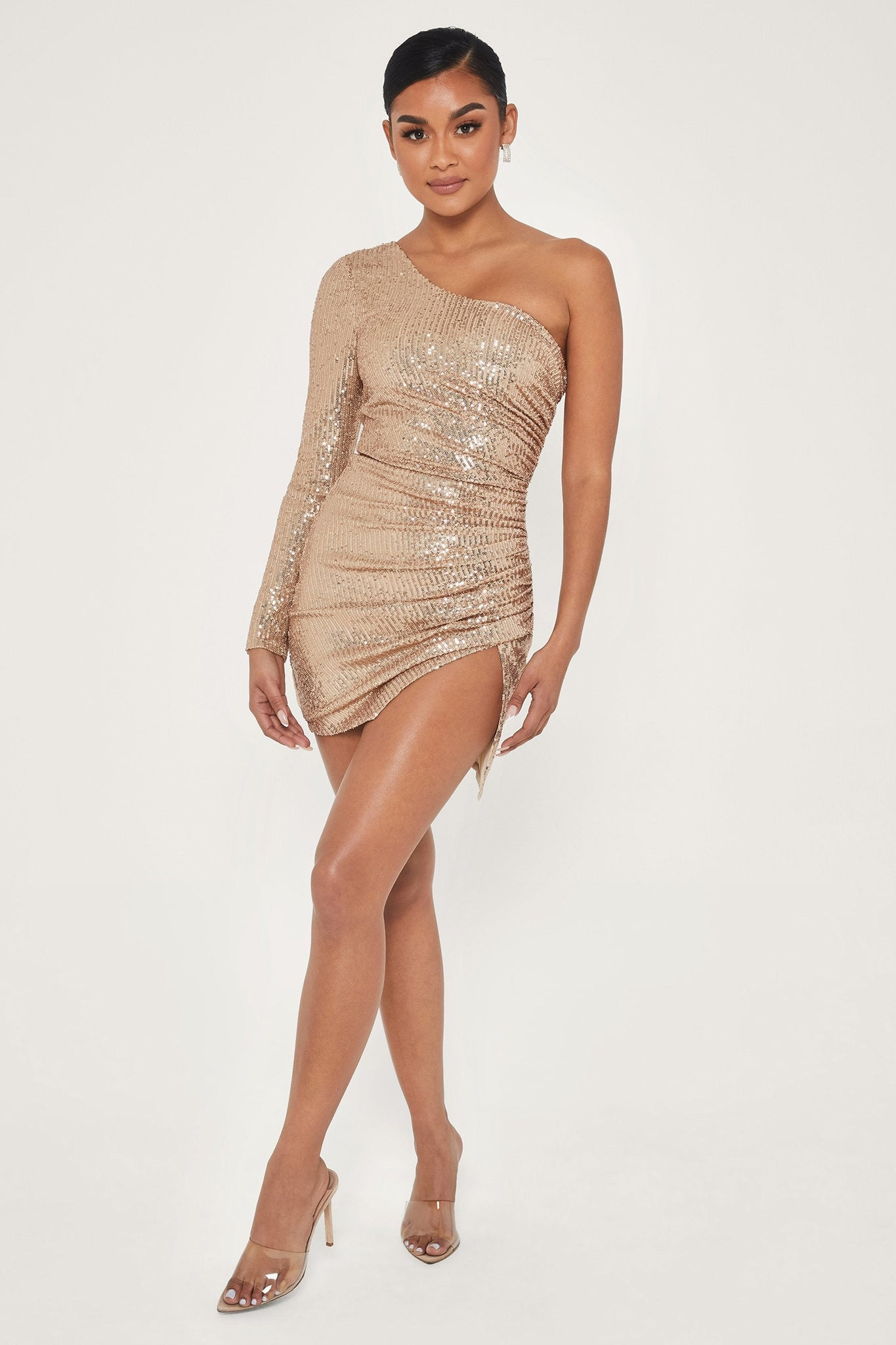 Kirstie One Shoulder Sequin Mini Dress - Gold - MESHKI