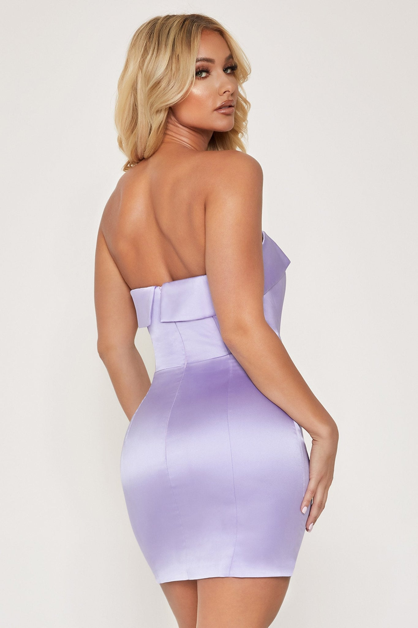 Macie Strapless Mini Dress - Lilac - MESHKI