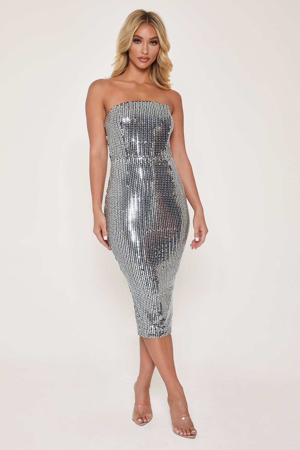 Nikki Mirror Sequin Strapless Dress - Silver - MESHKI ?id=12803954245707
