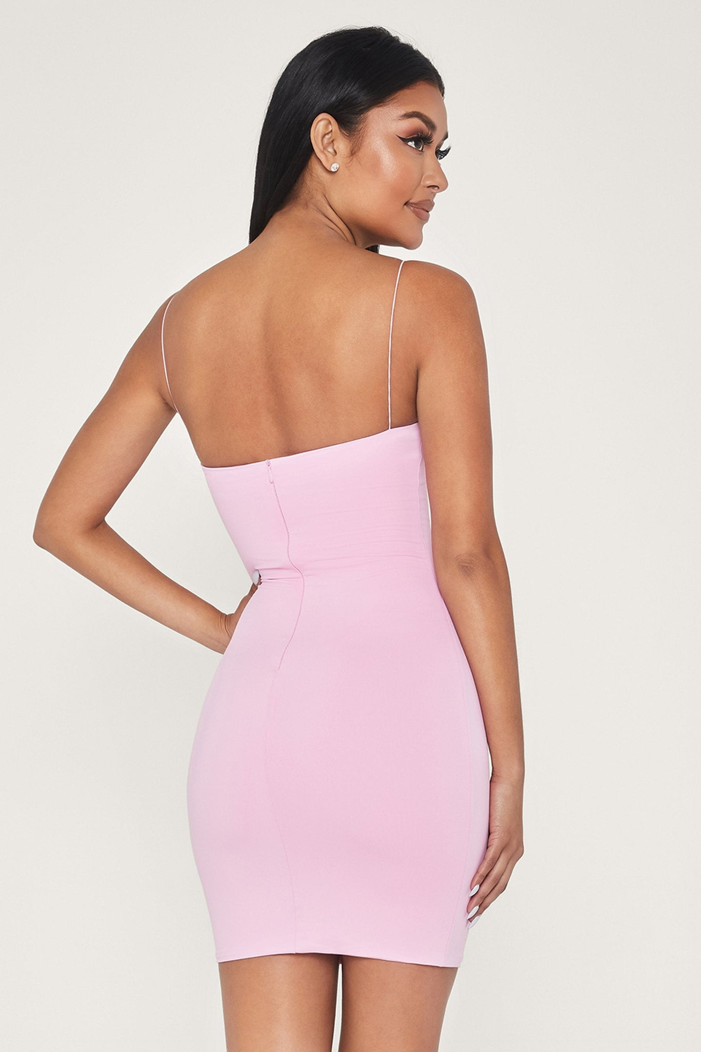 Mia Thin Strap Bodycon Mini Dress - Pink - MESHKI