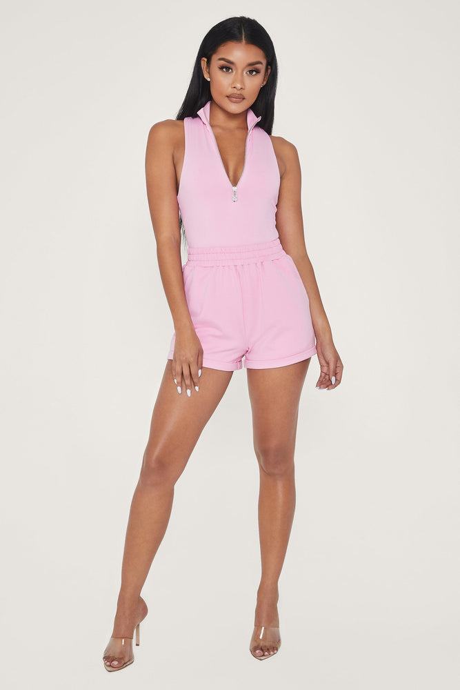 Paulina Sleeveless High Neck Zip Bodysuit - Pink - MESHKI