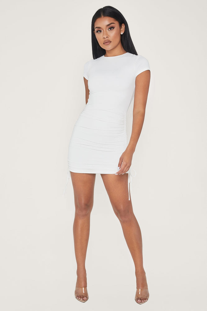 Britta Ruched Side Short Sleeve Mini Dress - White - MESHKI