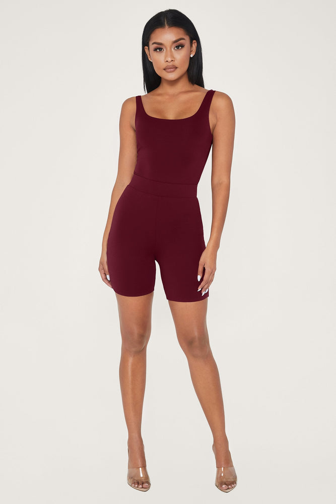 Cameryn High Waisted Bike Short - Burgundy - MESHKI