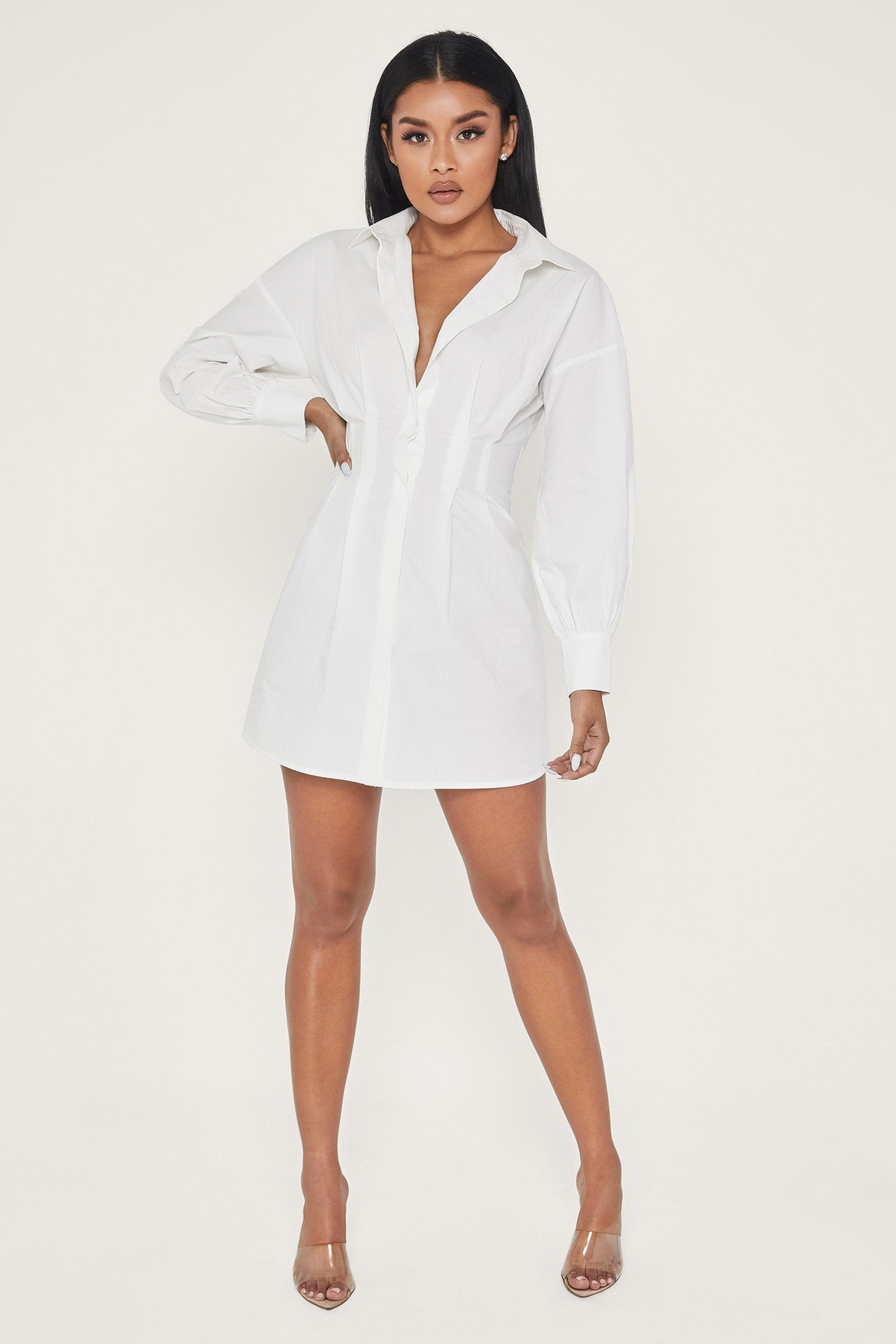 Rena Oversized Long Sleeve Shirt Dress - White - MESHKI