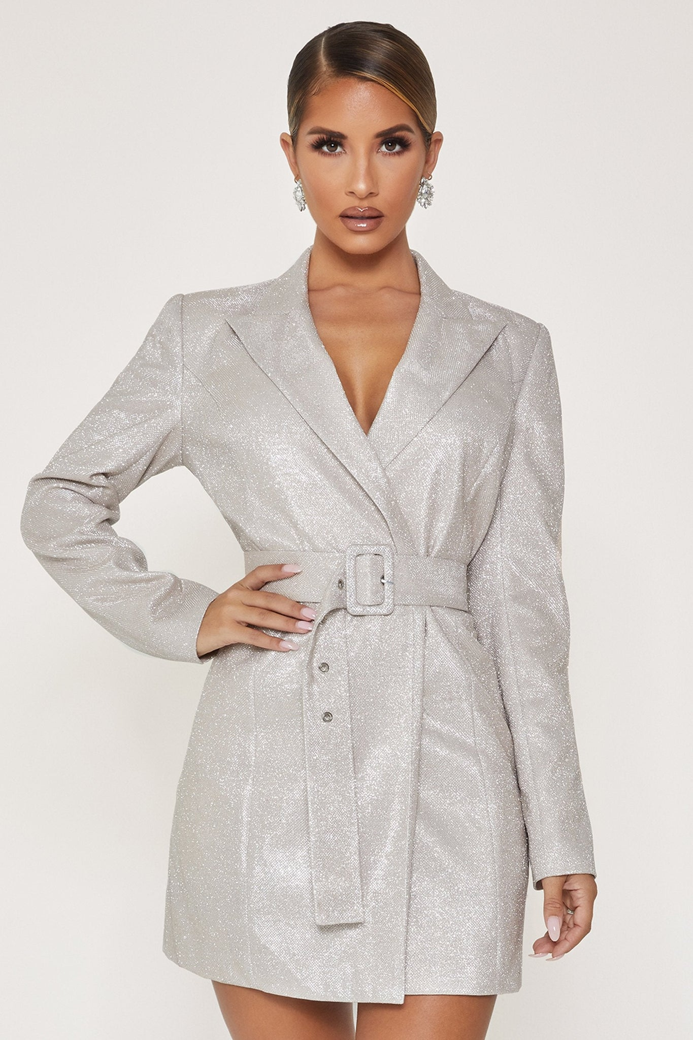 Victoria Double Breasted Blazer Dress - Silver - MESHKI