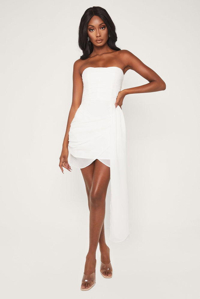 Kallah Draped Wrap Mini Dress - White - MESHKI