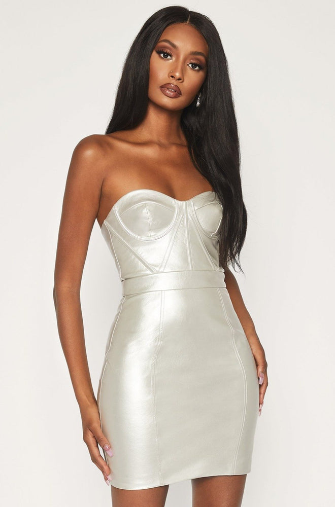 Zudie Strapless Panelled PU Leather dress - Silver - MESHKI