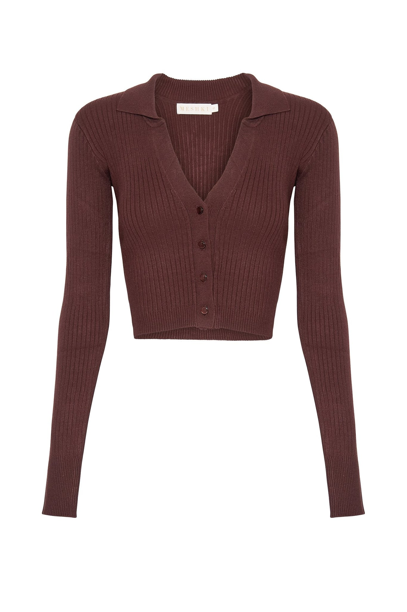 Amae Long Sleeve Cropped Polo Cardigan - Chocolate - MESHKI