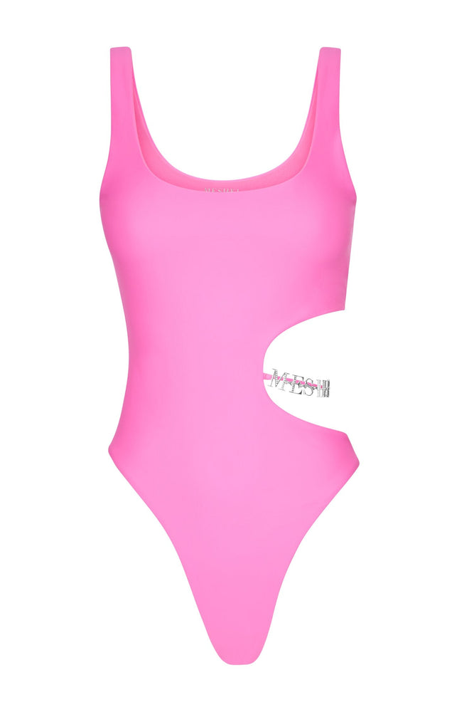 Anona Cut Out Diamante Meshki Logo One Piece - Neon Pink - MESHKI