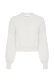 Louise Diamante Button Fluffy Cardigan - White - MESHKI ?id=15857375412299