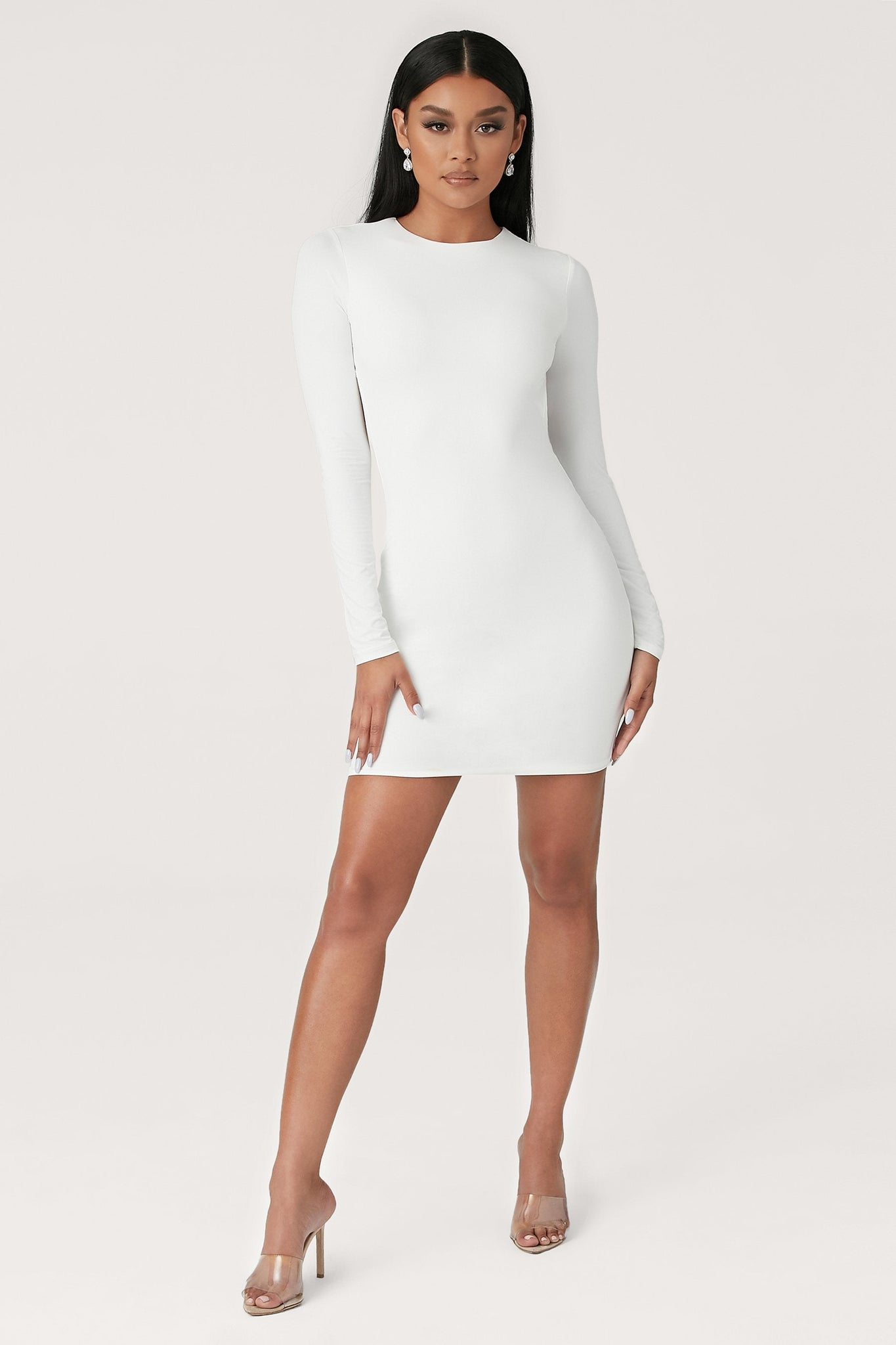 Rayne Long Sleeve Mini Dress - White - MESHKI