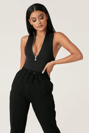 Paulina Sleeveless High Neck Zip Bodysuit - Black - MESHKI ?id=12888353341515