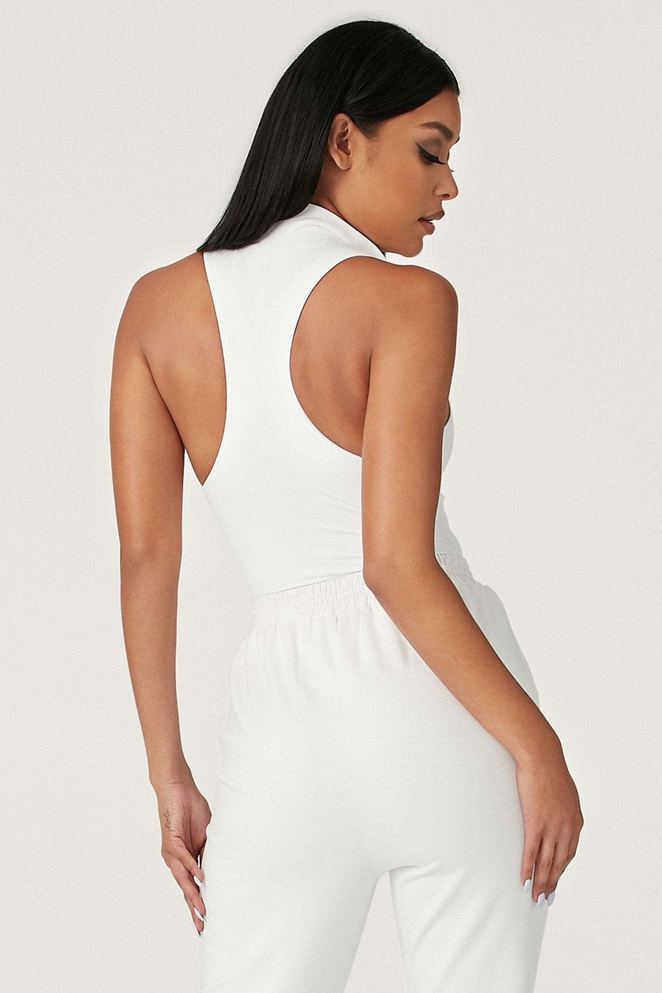 Paulina Sleeveless High Neck Zip Bodysuit - White - MESHKI