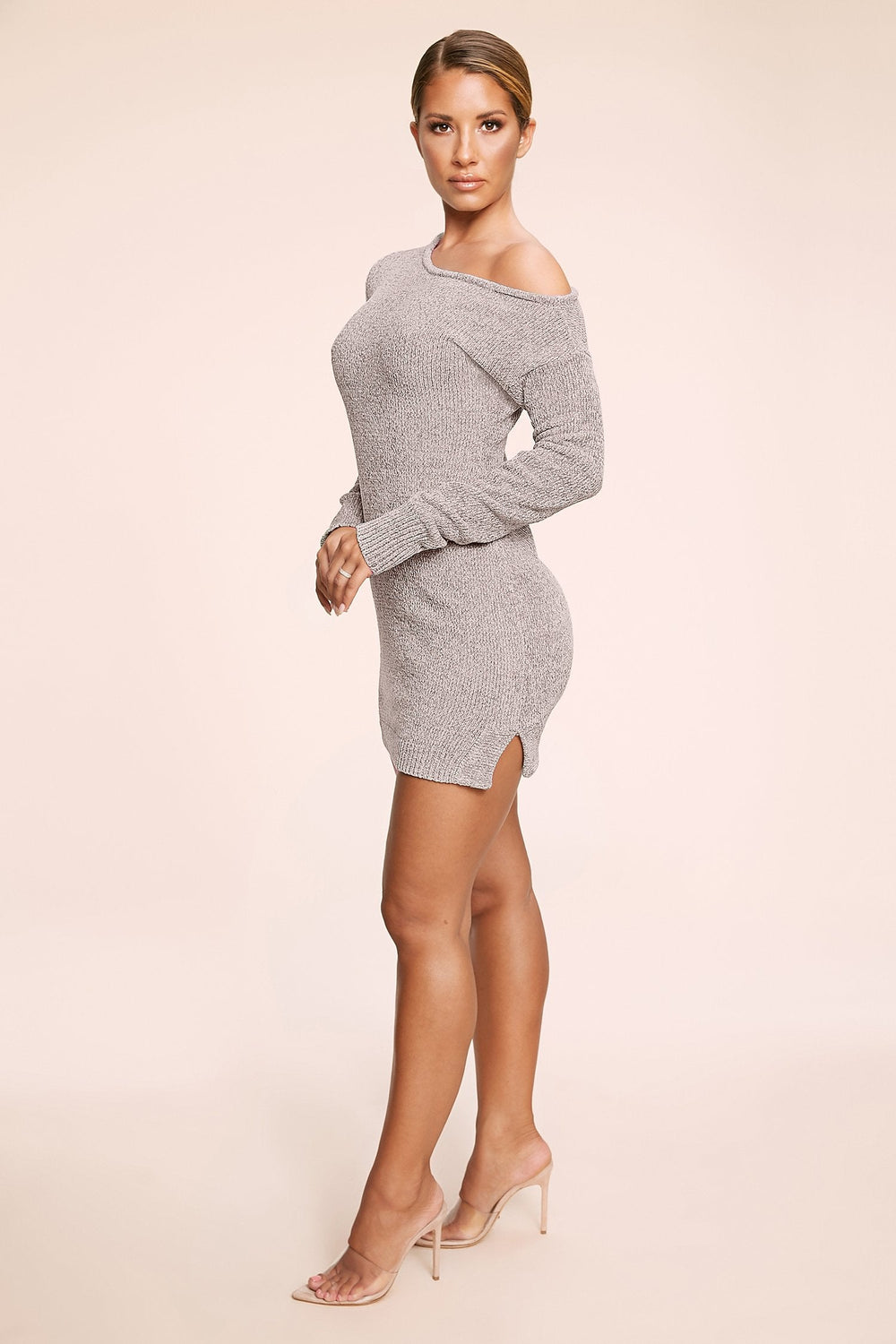 Alegra Chenille Off The Shoulder Dress - Grey - MESHKI ?id=11779859578955