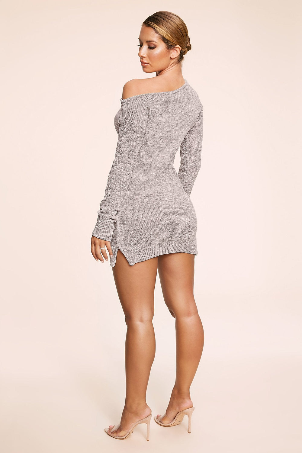 Alegra Chenille Off The Shoulder Dress - Grey - MESHKI ?id=11779859710027