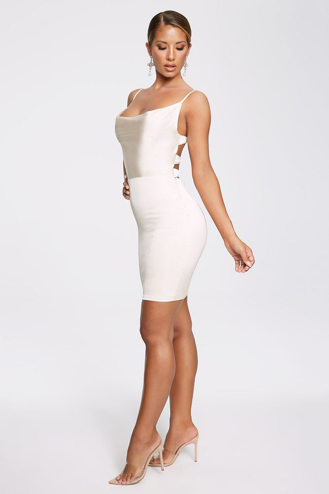 Zoey Cowl Neck Strappy Back Mini Dress - Champagne - MESHKI