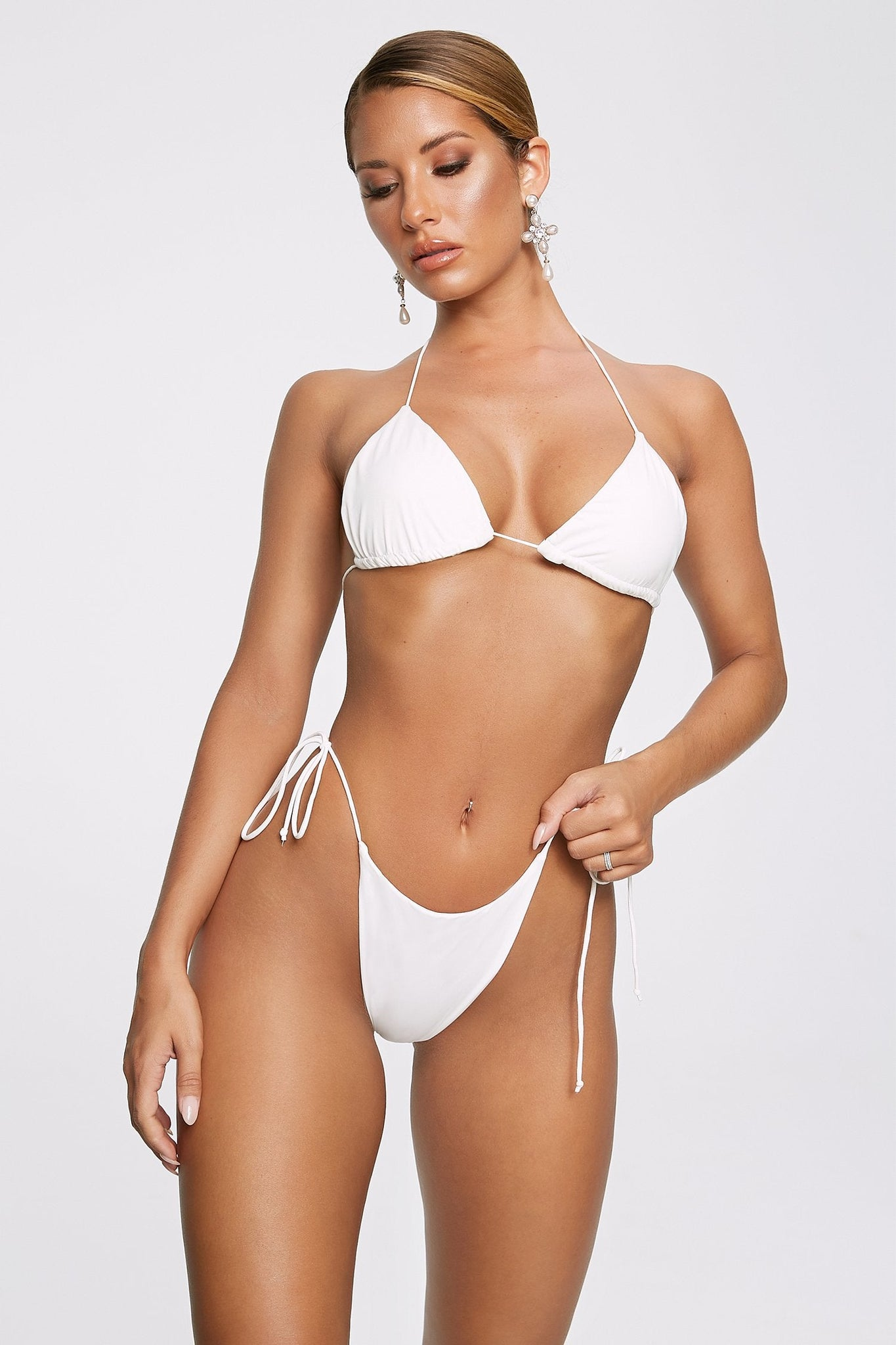 Amalia Tie Up Bikini Bottoms - White - MESHKI