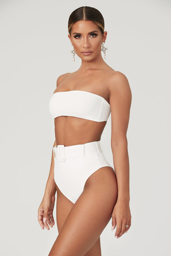 Hadley High Waisted Bottoms  - White - MESHKI