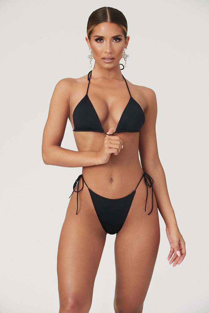 Amalia Tie Up Bikini Bottoms - Black - MESHKI