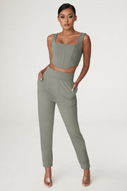 Amelia Fitted High Waisted Joggers - Sage - MESHKI ?id=15024763895883