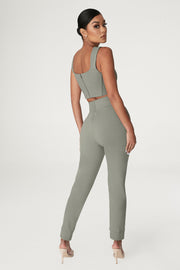 Amelia Fitted High Waisted Joggers - Sage - MESHKI ?id=15024763863115
