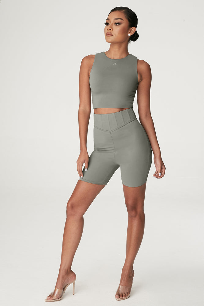 Chaya High Waisted Boned Bike Short - Sage - MESHKI ?id=15042898526283