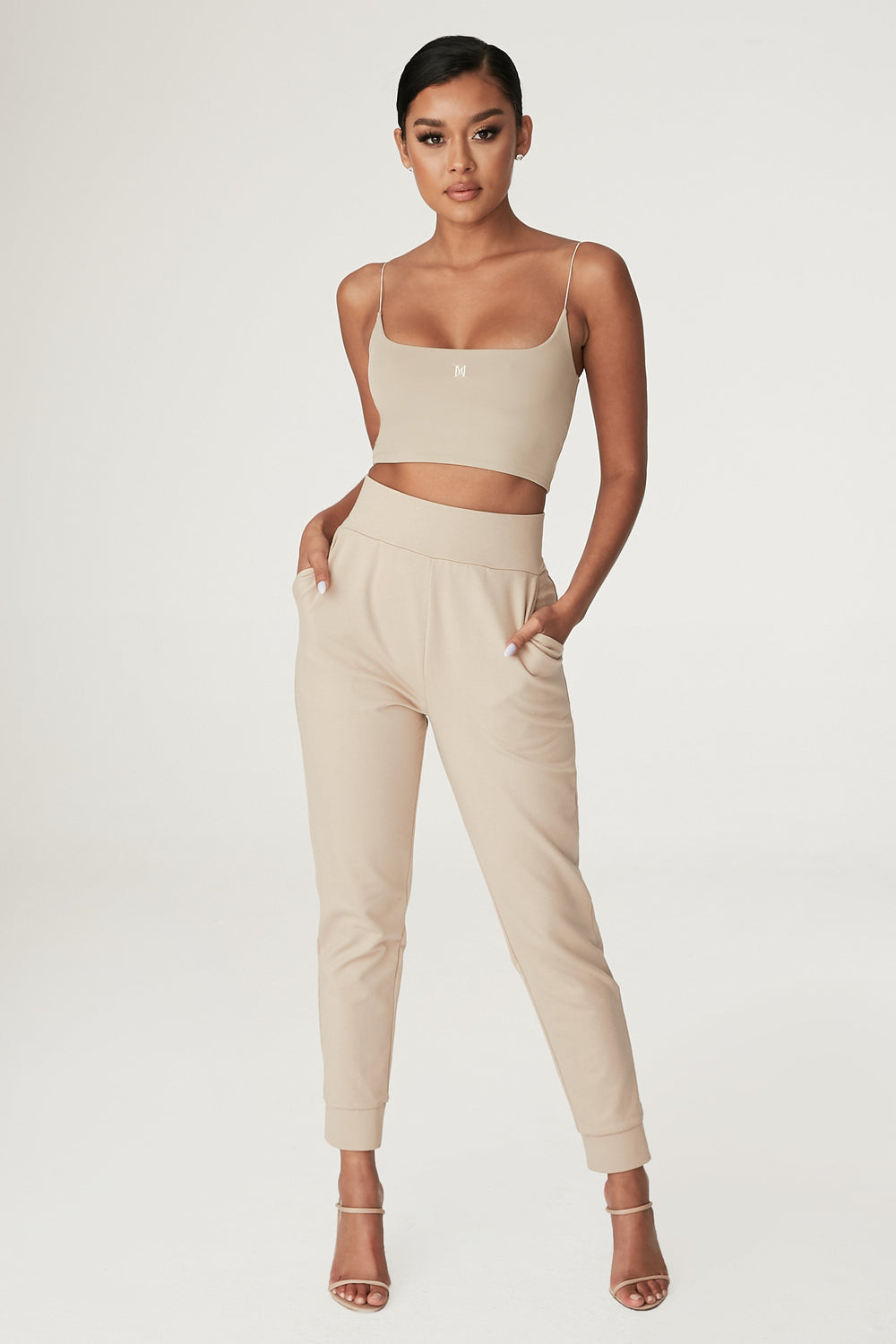 Amelia Fitted High Waisted Joggers - Almond - MESHKI ?id=12240552493131