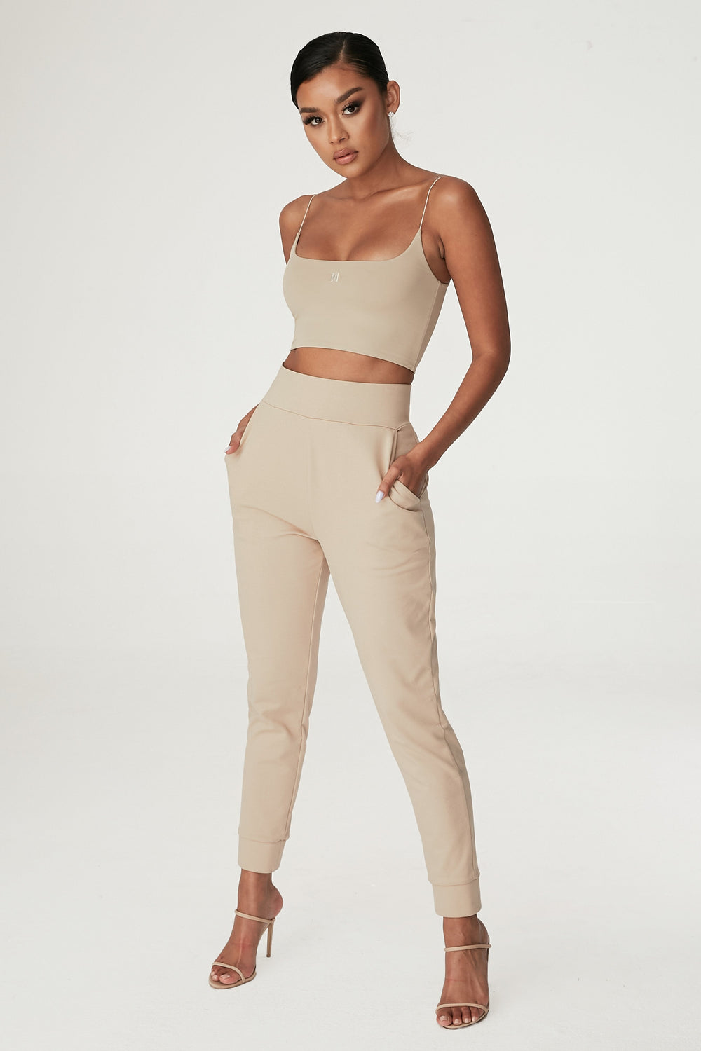 Amelia Fitted High Waisted Joggers - Almond - MESHKI ?id=12240553214027