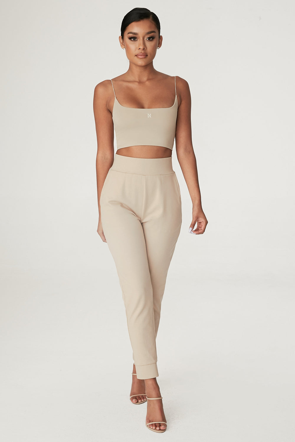 Amelia Fitted High Waisted Joggers - Almond - MESHKI ?id=12240553443403