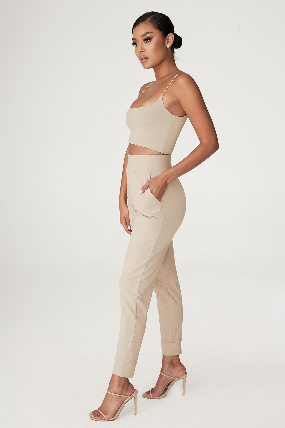Amelia Fitted High Waisted Joggers - Almond - MESHKI ?id=12240554033227